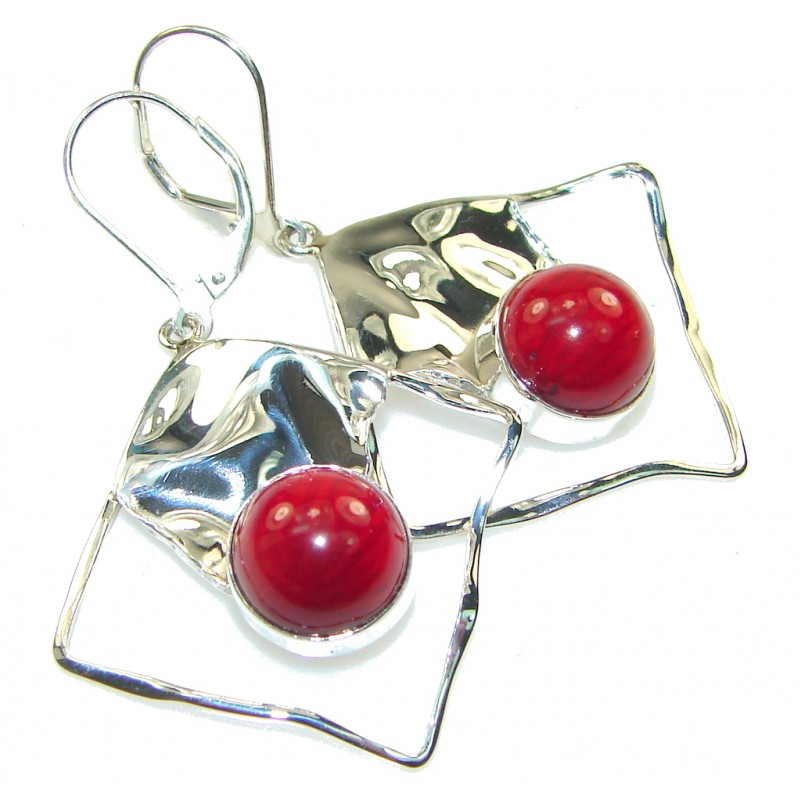 Stylish Red Fossilized Coral Sterling Silver earrings