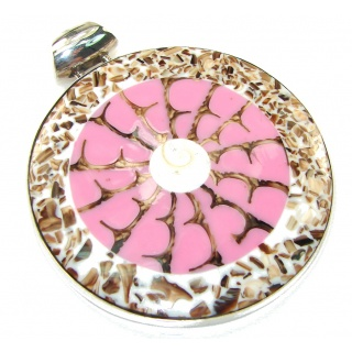 Big! Precious Ocean Pink Shell Sterling Silver Pendant