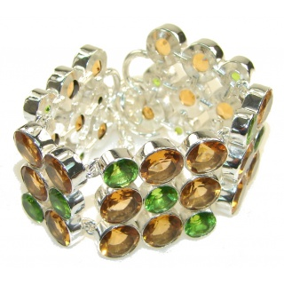 Fresh Created Green Peridot Sterling Silver Bracelet