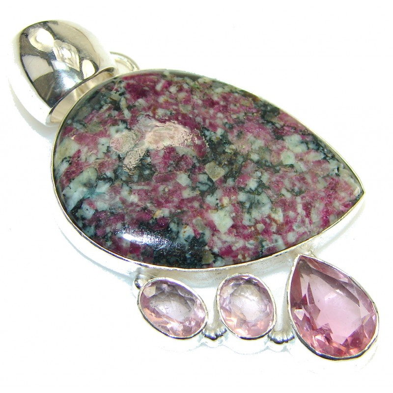 Exotic Design! Ruby in Zoisite Sterling Silver Pendant