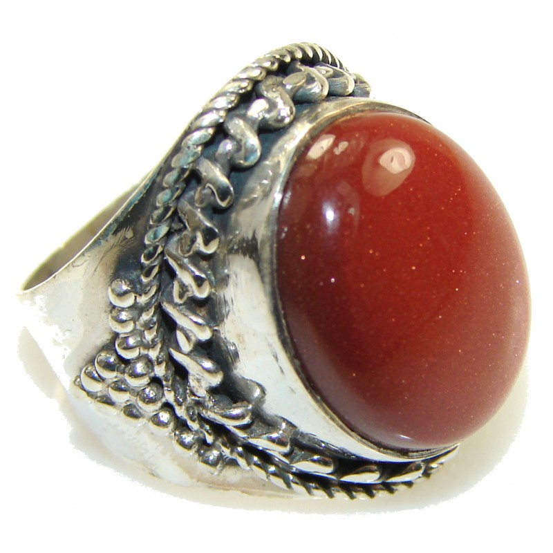 Inspire Red Sun Sitara Sterling Silver Cocktail ring s. 8