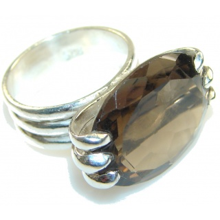 Fantastic Brown Smoky Topaz Sterling Silver ring; s. 6 1/2