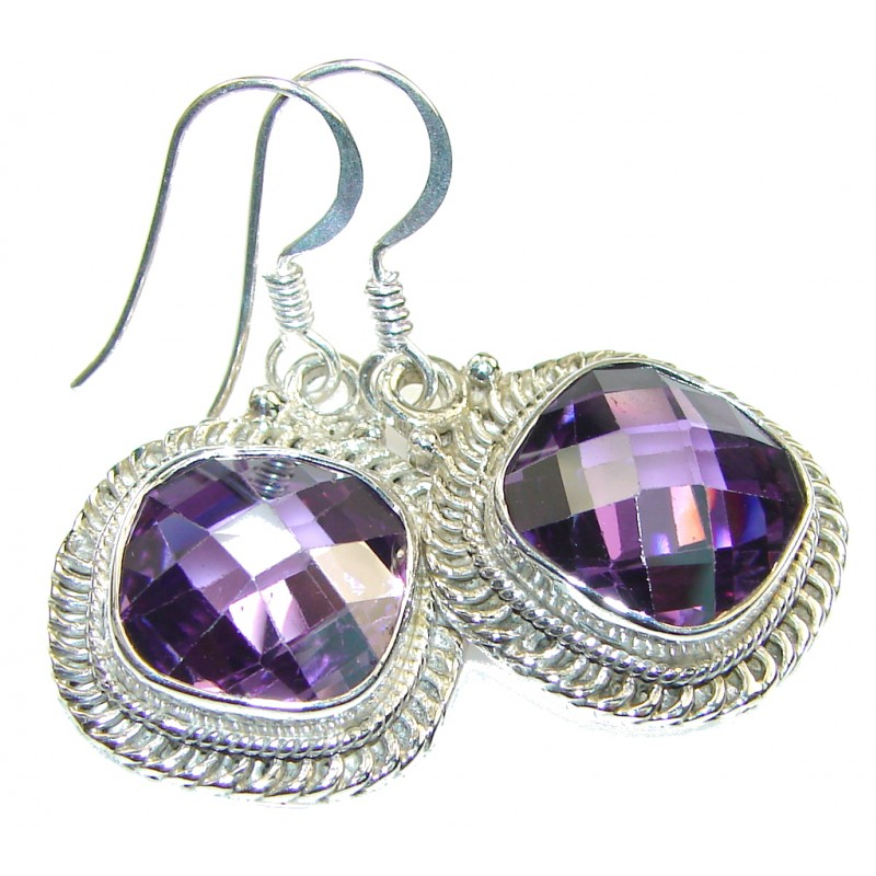 Royal Purple Amethyst Quartz Sterling Silver earrings