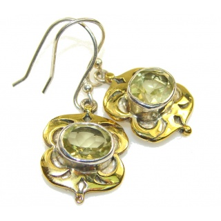 Amazing! Two Tones Yellow Citrine Silver Sterling earrings
