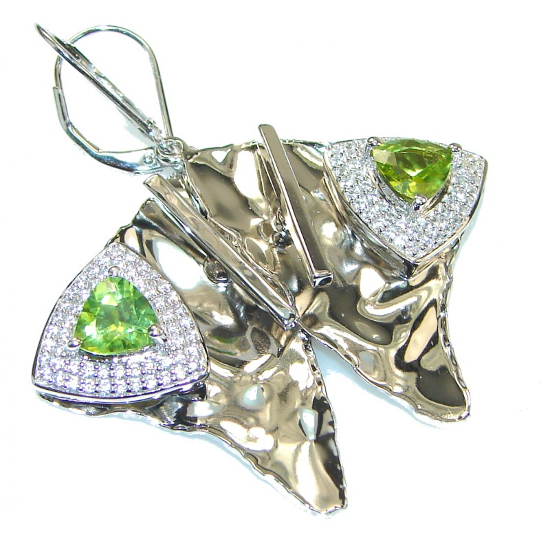 Chunky Exclusive Peridot Hammered Sterling Silver earrings