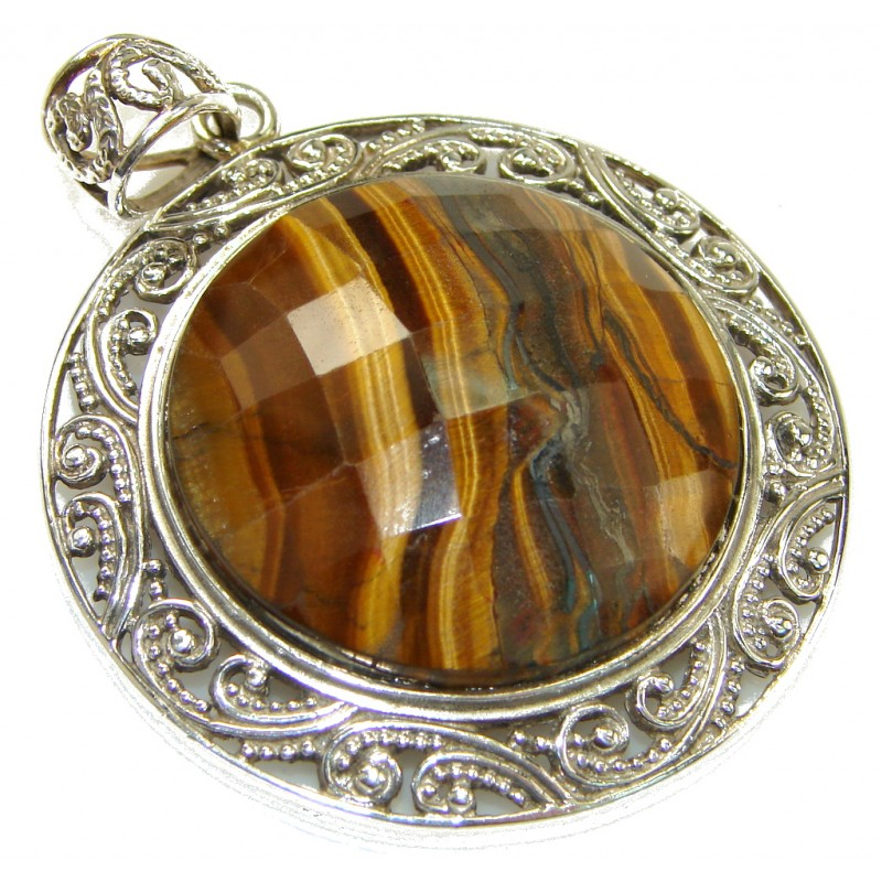 Vision Brown Tigers Eye Sterling Silver Pendant