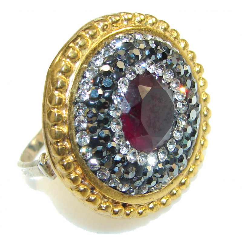 Turkish Design!! Deep Red Ruby Two Tones Sterling Silver ring s. 7