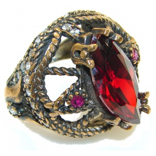 Goth Love!! Created Red Garnet Sterling Silver Ring s. 8 1/2