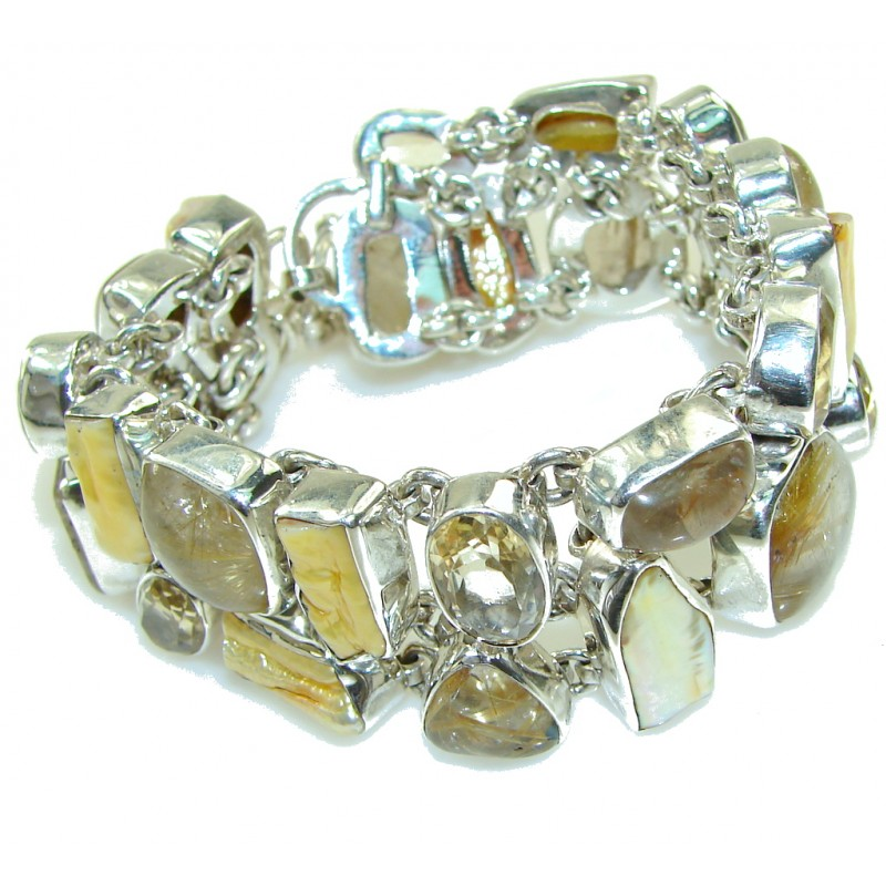 Awesome Golden Rutilated Quartz Sterling Silver Bracelet
