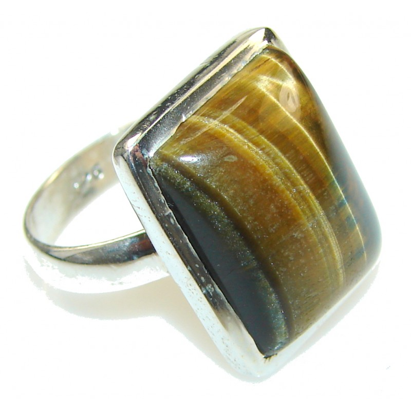 Perfect! Brown Tigers Eye Sterling Silver Ring s. 8 1/2