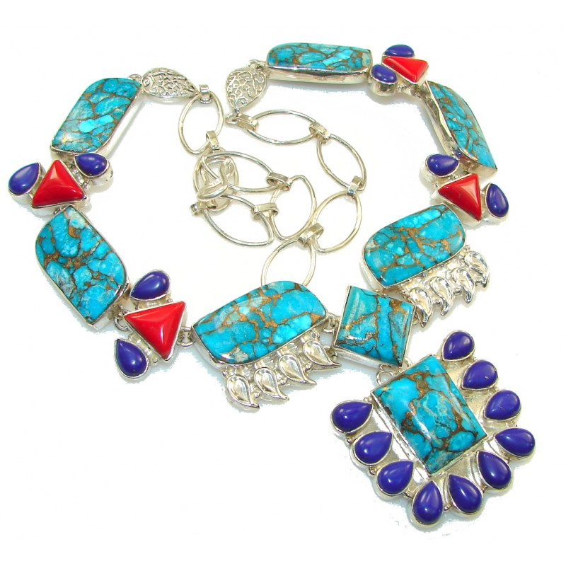 Maya Freedom!! Blue Copper Turquoise Sterling Silver necklace