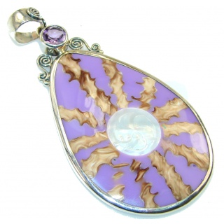 Stylish Purple Ocean Shell Sterling Silver Pendant
