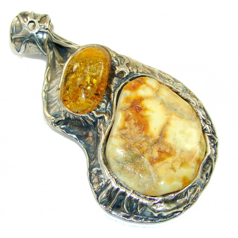 Big! Stylish Design!! Amber Sterling Silver Pendant