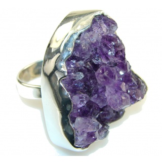 Huge! Fantastic Amethyst Cluster Sterling Silver Ring s. 9