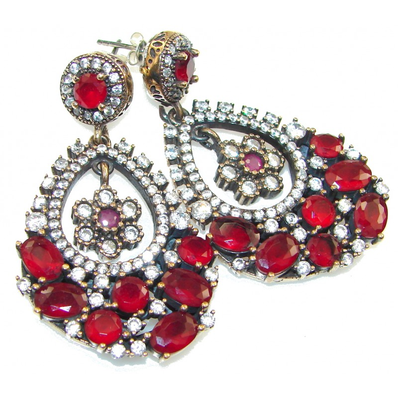 Rich Personality! Red Ruby Sterling Silver earrings
