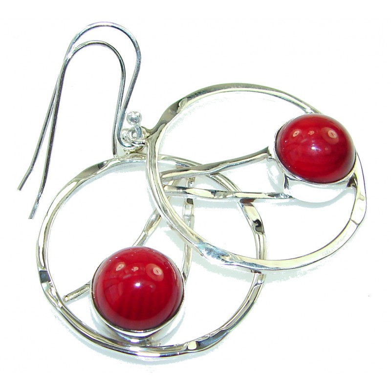 Fashion Red Fossilized Coral Sterling Silver earrings