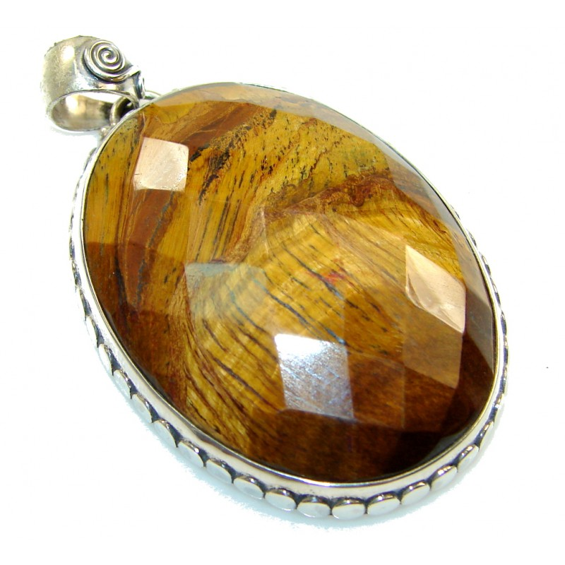 Fantastic Brown Tigers Eye Sterling Silver Pendant