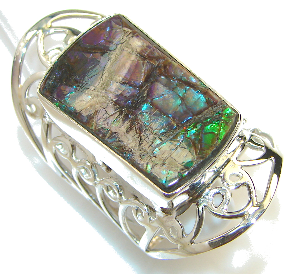 big beautiful ammolite sterling silver ring s 11 12