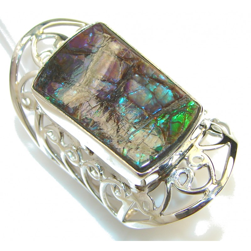 Big! Beautiful Ammolite Sterling Silver ring s. 11