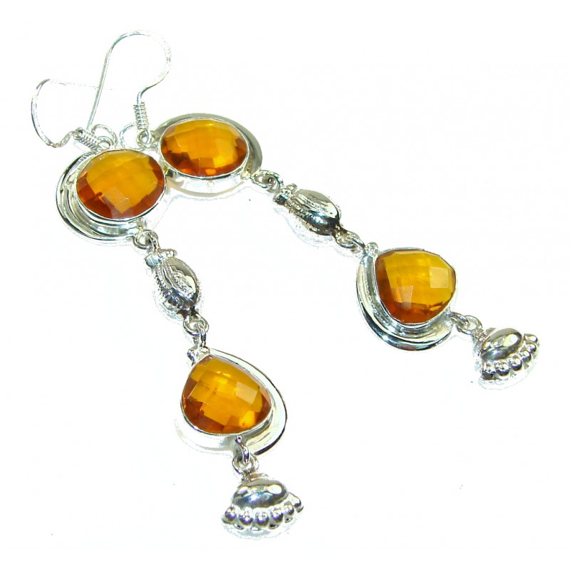 Stylish Yellow Citrine Quartz Sterling Silver earrings