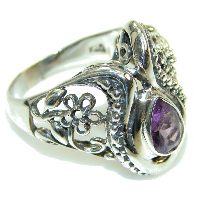 Stylish Purple Amethyst Sterling Silver ring s. 10 1/2