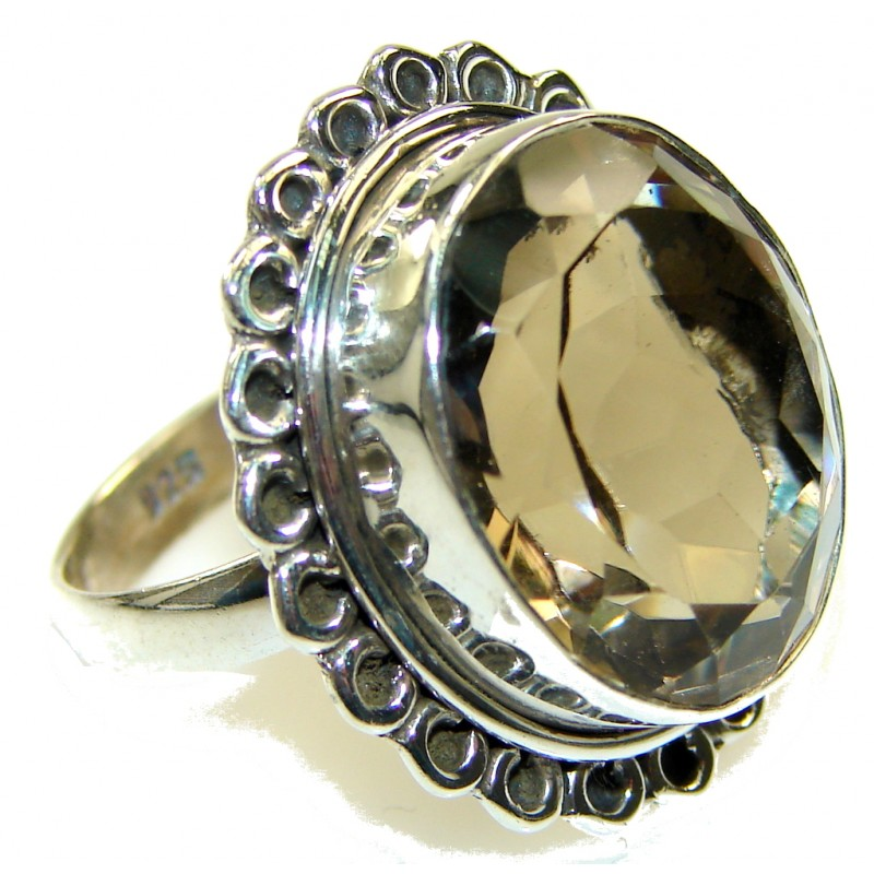 Simple Delight!! Smoky Topaz Sterling Silver ring s. 8 1/4