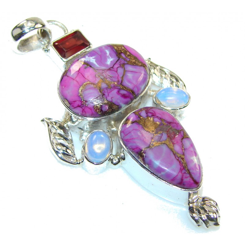 Great! Purple Copper Turquoise Sterling Silver Pendant