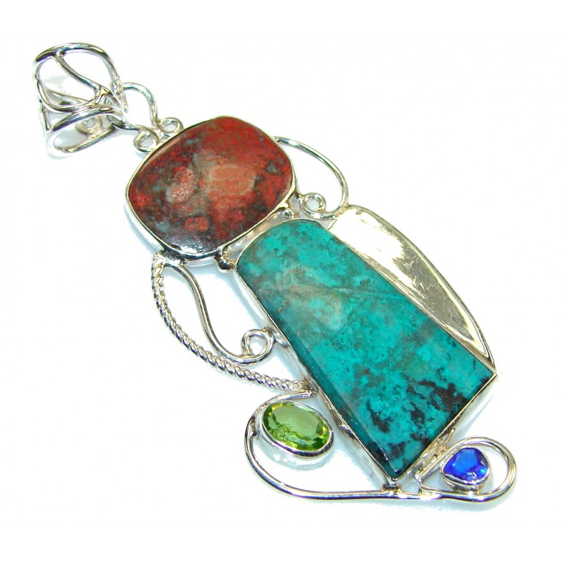 Simple! Green & Orange Turquoise Sterling Silver Pendant