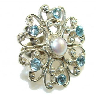 Big! Secret Design! Fresh Water Pearl Sterling Silver ring; 6