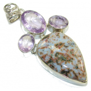 Big! Maya Dreams!! Ocean Jasper Sterling Silver Pendant