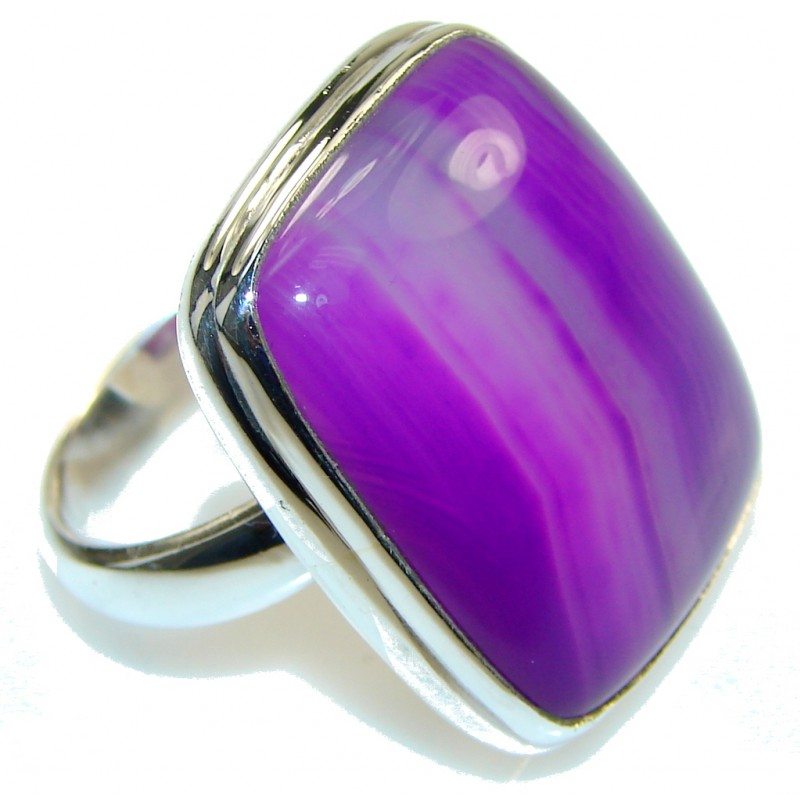 Perfect! Purple Botswana Agate Sterling Silver Ring s. 8 3/4