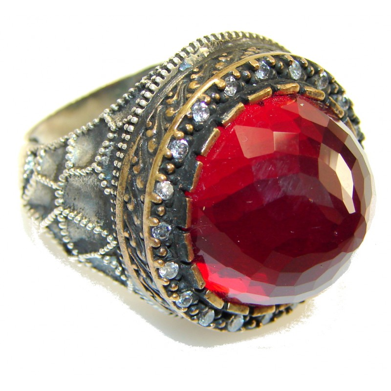 Vintage Style!! Red Quartz Sterling Silver Ring s. 8