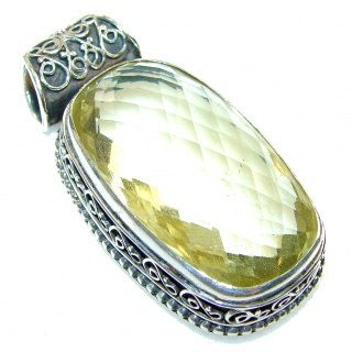 Summer Shine! Yellow Quartz Sterling Silver Pendant