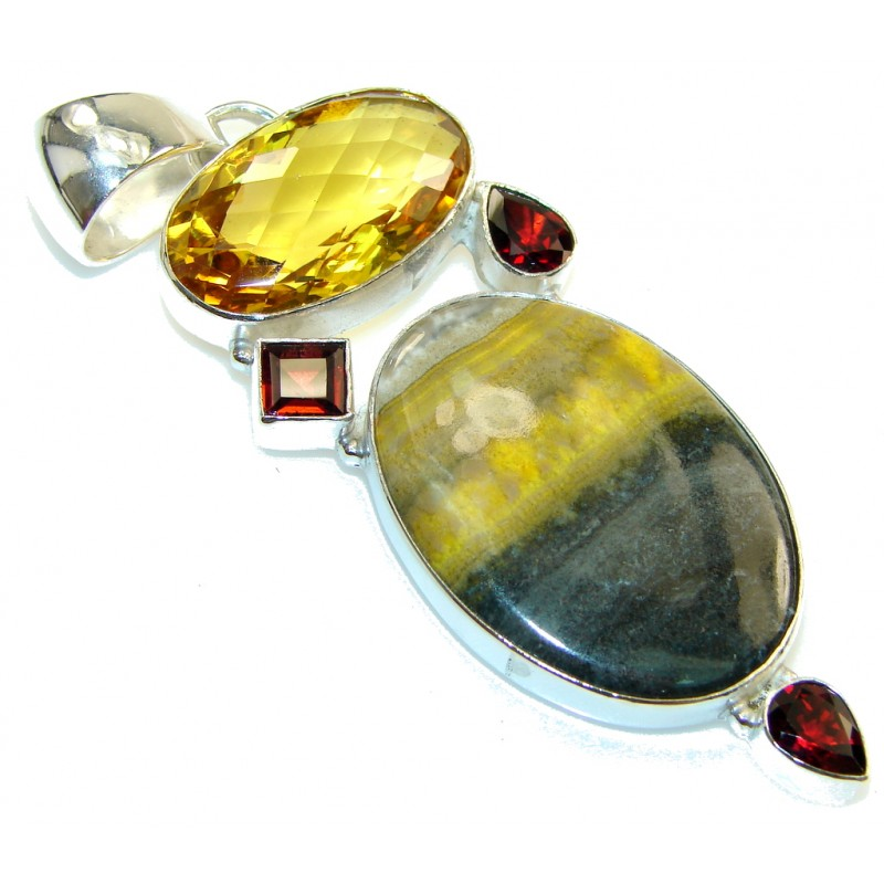 Big Dreamer!! Yellow Bumble Bee Jasper Sterling Silver Pendant