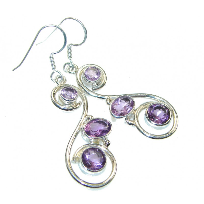 Delicate! Purple Amethyst Sterling Silver earrings