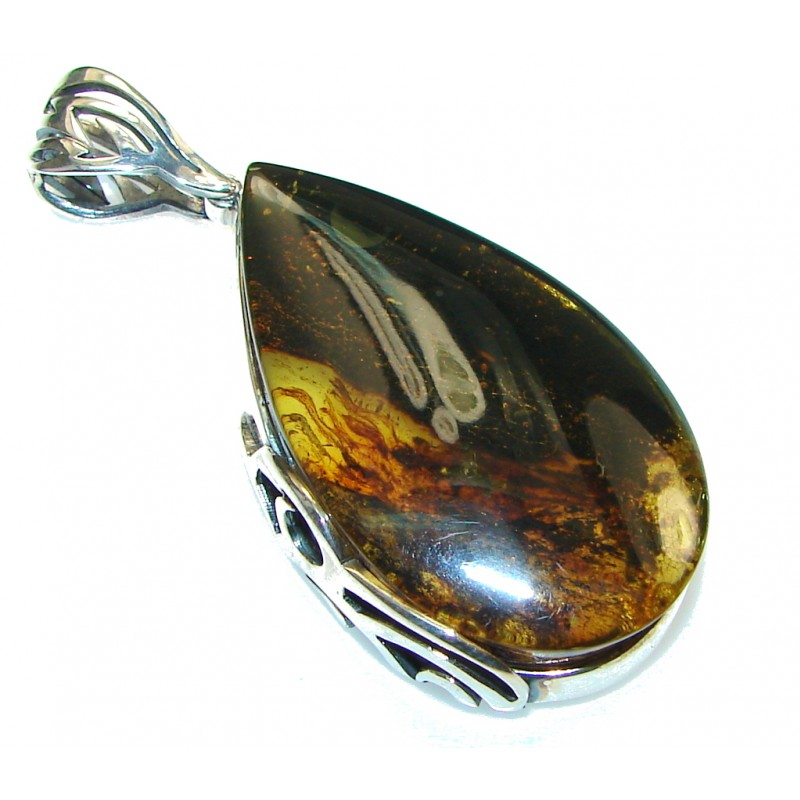Goth Love!! Brown Polish Amber Sterling Silver Pendant