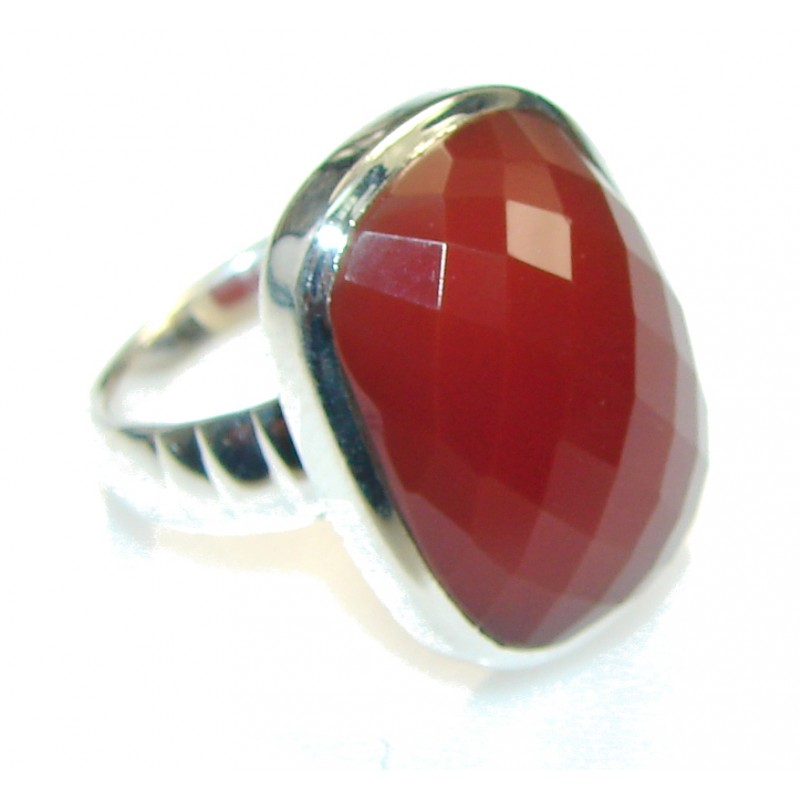 Excellent Brown Carnelian Sterling Silver ring s. 6