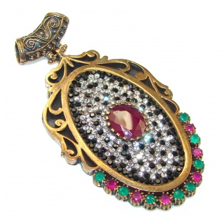 Vintage Design!! Red Ruby Sterling Silver Pendant
