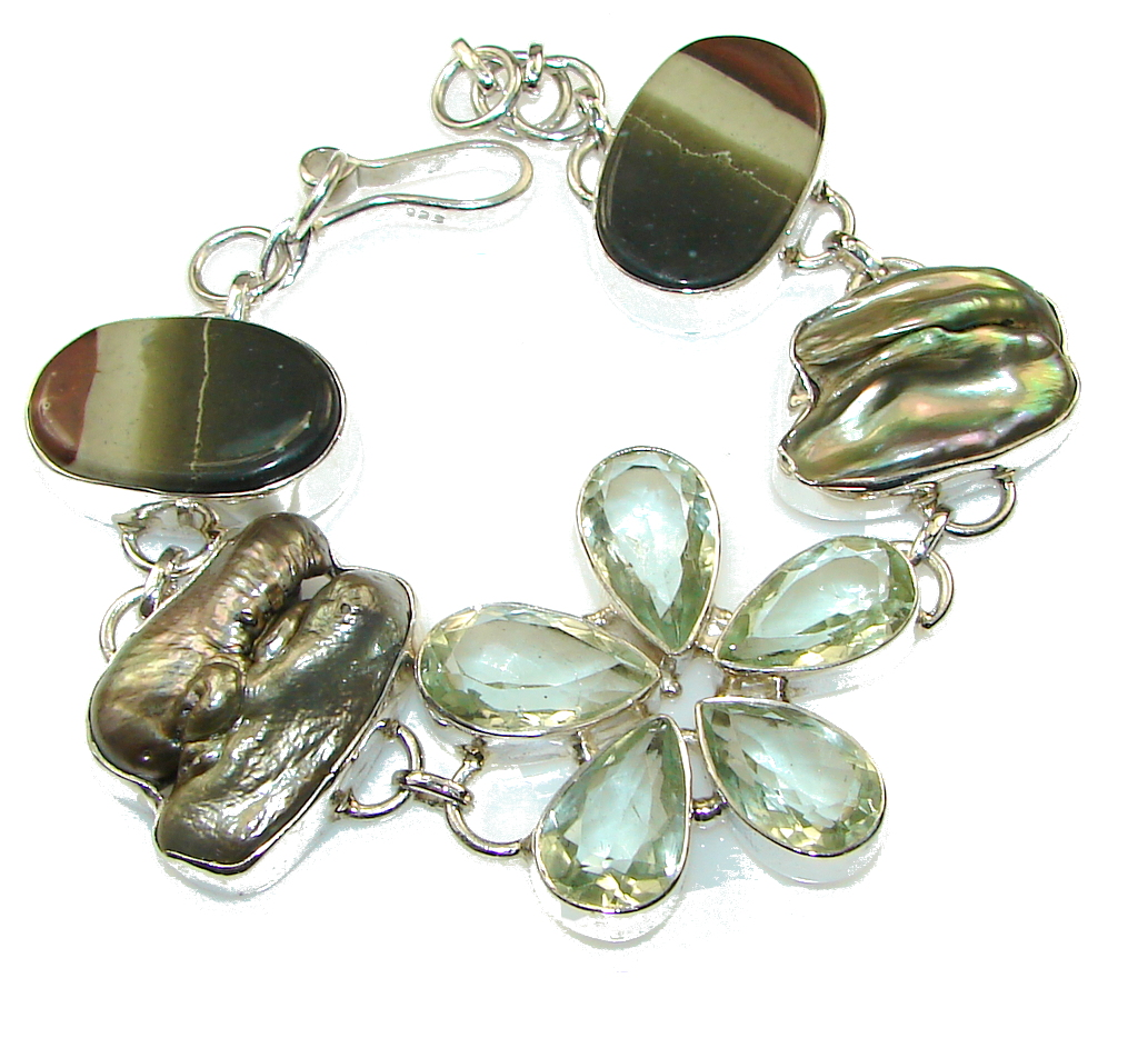 Precious Design Green Amethyst Sterling Silver Bracelet
