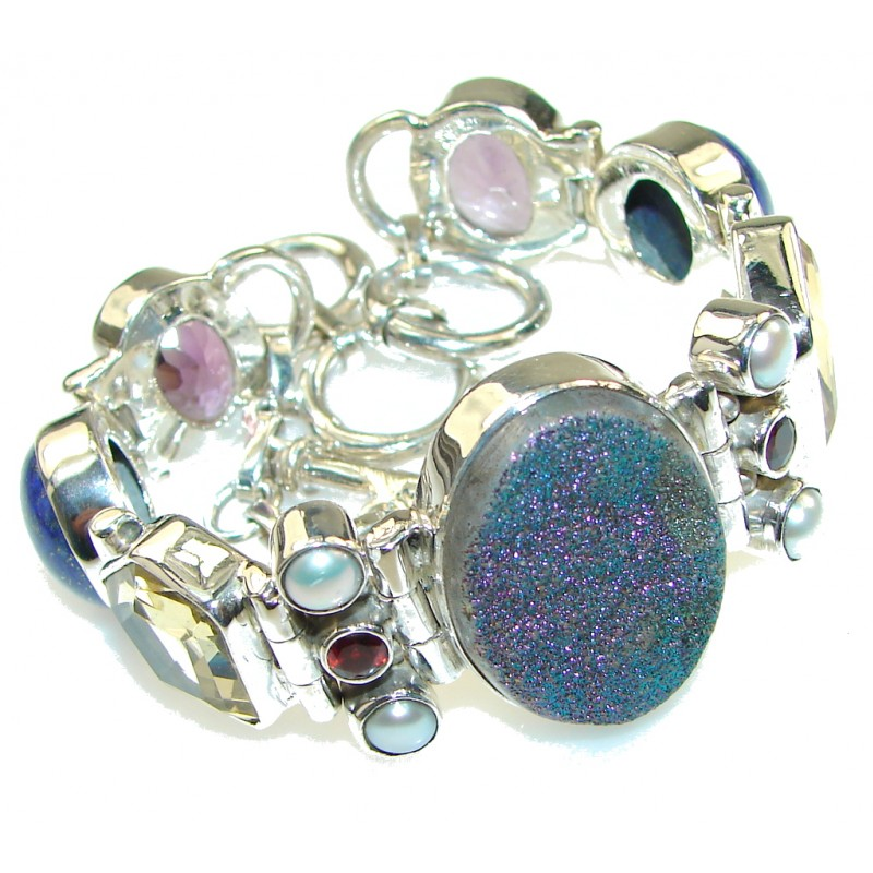 Unique Design! Blue Druzy Sterling Silver Bracelet