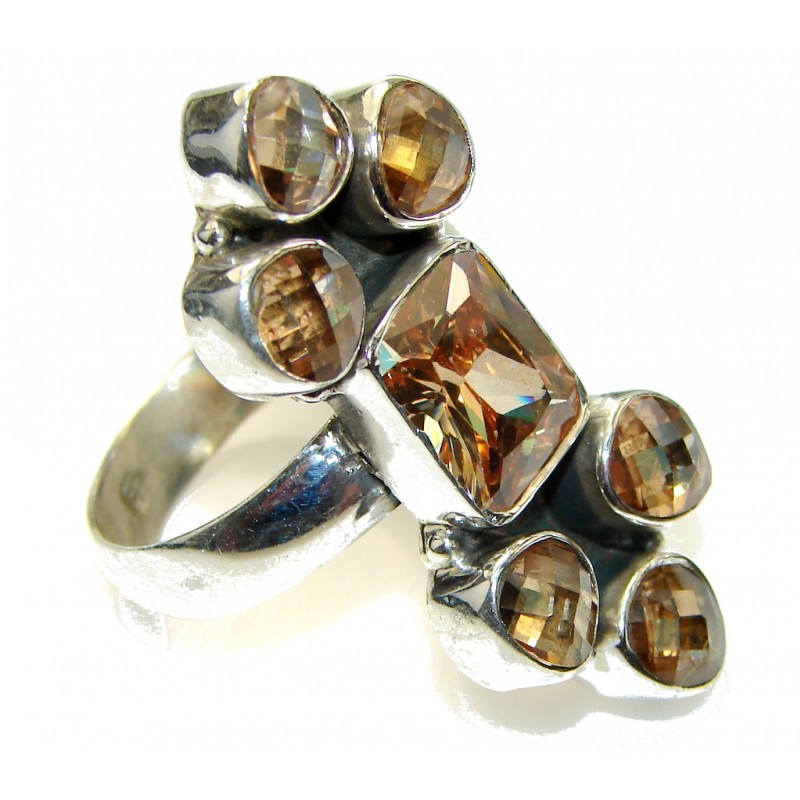 Big! Stylish Golden Topaz Quartz Sterling Silver Ring s. 9 1/4