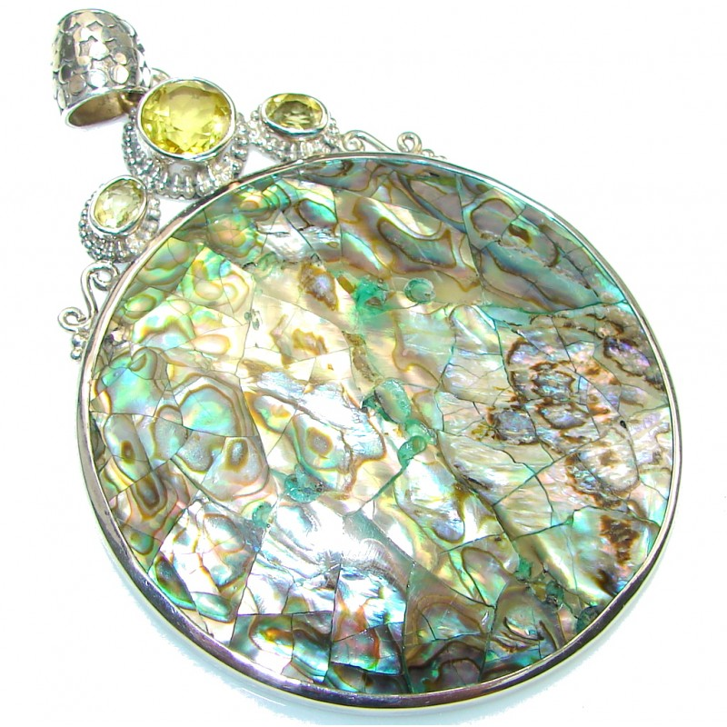 Big! Excellent Rainbow Abalone Sterling Silver Pendant