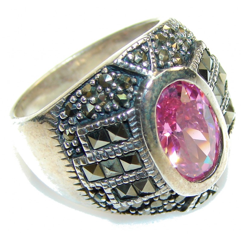 Princess Style!! Pink Topaz Sterling Silver ring; size 7