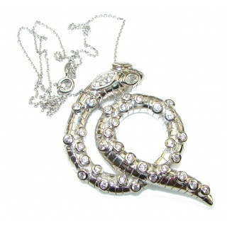 Amazing Design! Snake White Topaz Sterling Silver necklace