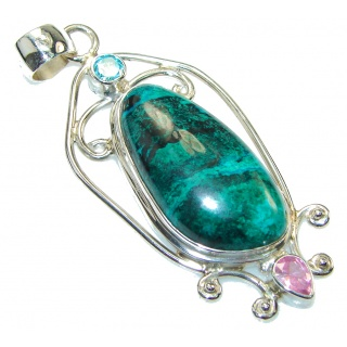 Perfect!! Green Chrysocolla Sterling Silver Pendant
