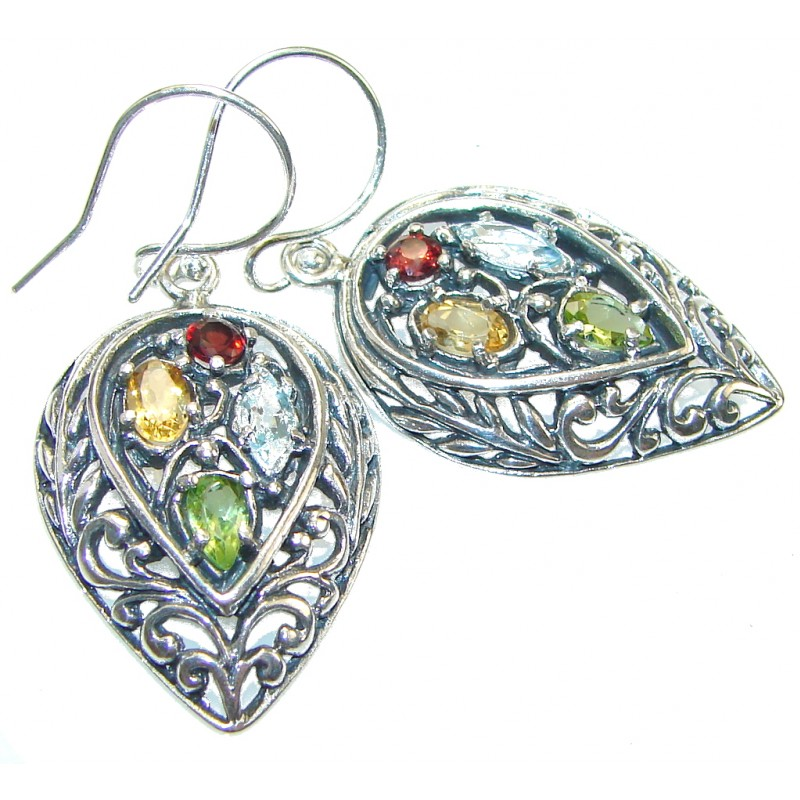 Stylish!! Multigem Sterling Silver Earrings