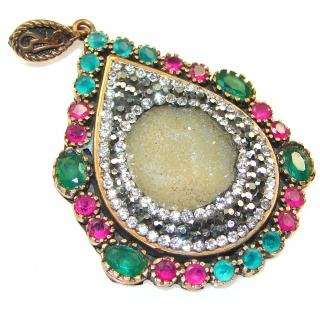 Stylish Design!! Turkish Druzy Sterling Silver Pendant