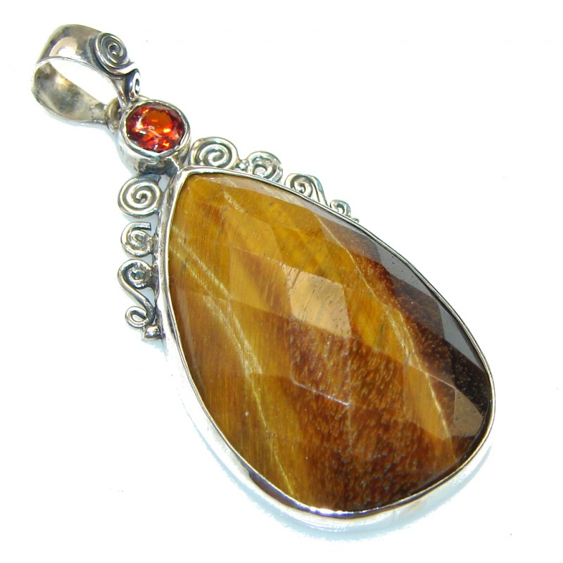 Fantastic!! Brown Tigers Eye Sterling Silver Pendant