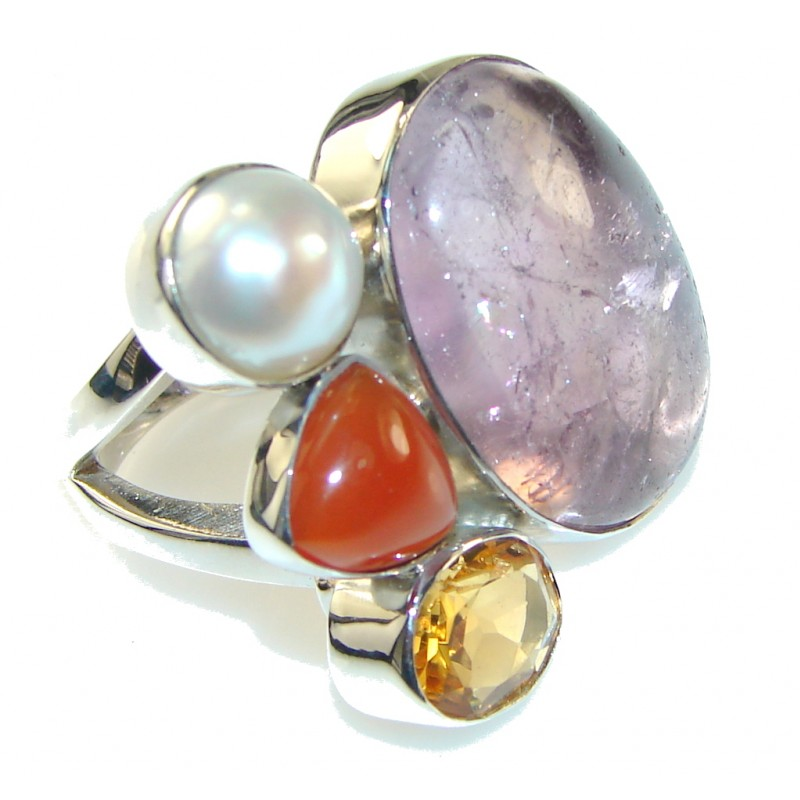 Halo Of Beauty Purple Ametrine Sterling Silver ring s. 7