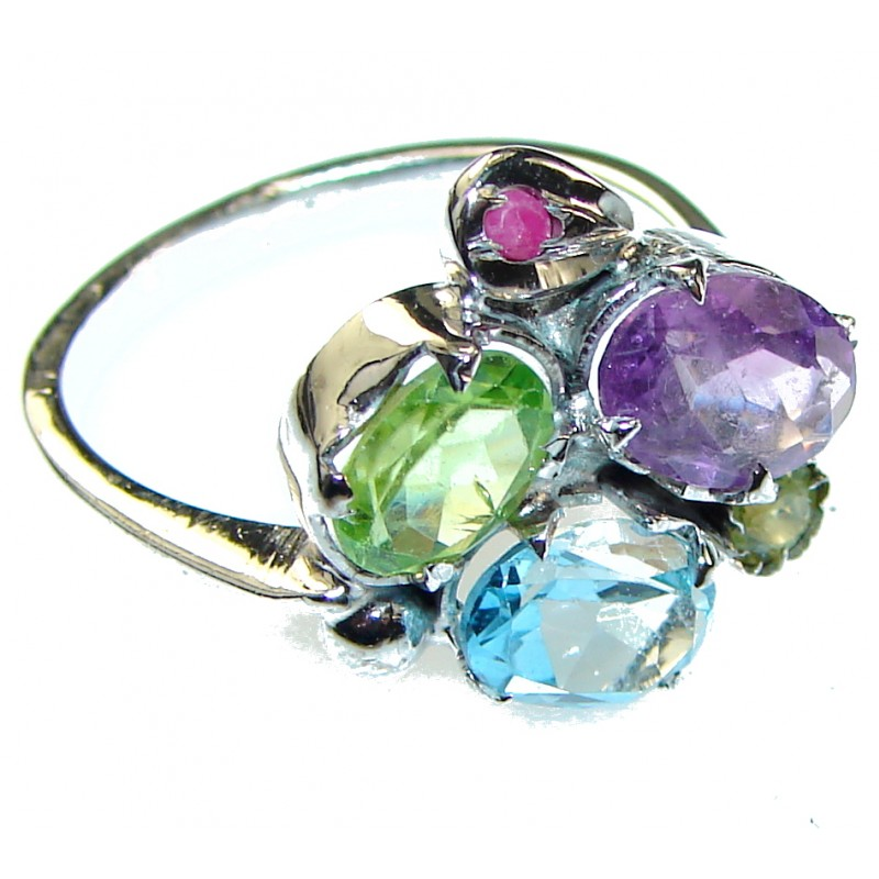 Precious Style!! Purple Amethyst Sterling Silver ring s. 8 1/4